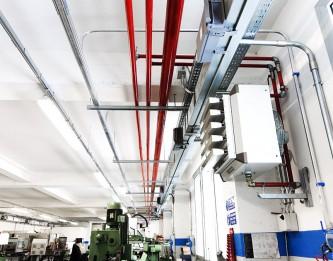 Impianto riscaldamento industriale con aerotermi